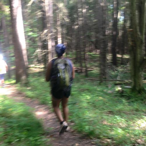 Michelle leading a fitness excursion at Lime Hollow Nature Preserve