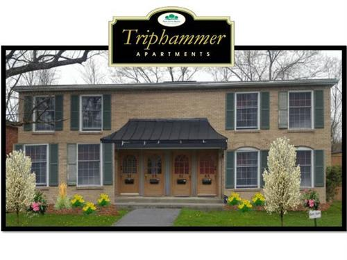 Newly renovated apartment front view at the Triphammer Apartment Complex, 4 miles from Cornell University