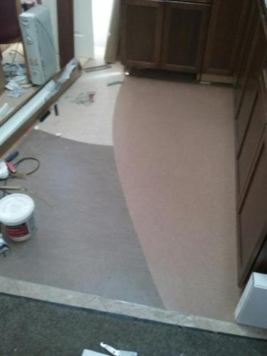 kitchen custom design three colors marmoleum