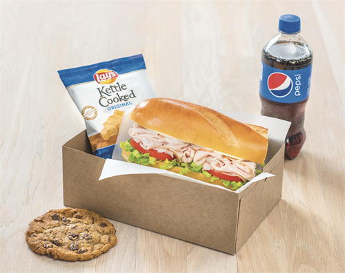 Boxed Lunch - Includes a small classic style sub, bag of chips and a cookie with the option to add a beverage! (Min. order 10)
