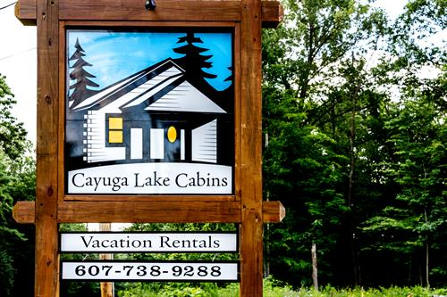 Cabin sign as seen from the roadside