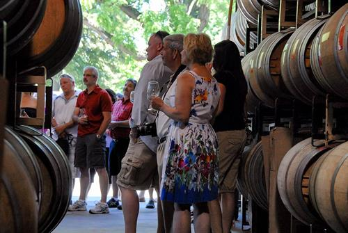 Wine club party in the barrel room.