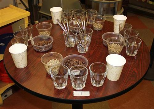 Getting ready for a staff coffee tasting