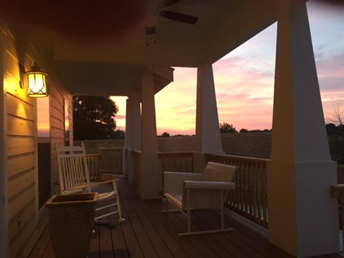 Pool House front porch sunrise