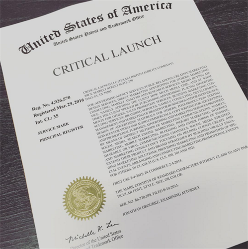 Critical Launch officially became a registered trademark