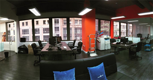 Wide angle view of the new creative space
