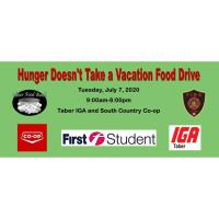 Hunger Doesn't take a vacation Food Drive
