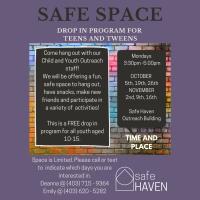 Safe Space Drop in Program For Teens & Tweens