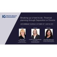 Breaking Up is hard to do: Financial planning through Separation or Divorce