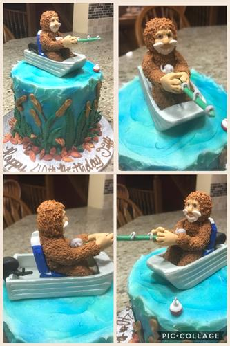 bigfoot fishing.  Bigfoot is hand sculpted from sugar and is a keepsake