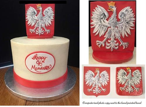 Hand Painted Polish Eagle.  Topper is a 100% edible and meant to be a keepsake