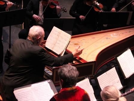 Kenneth Cooper conducting the Berkshire Bach Ensemble from the harpsichord