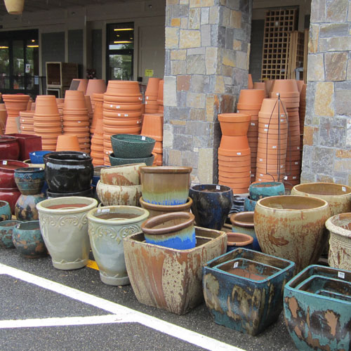 Pottery and containers - large and small.