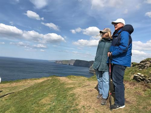 Steve and Linda at the Cliffs of Moher in Ireland
