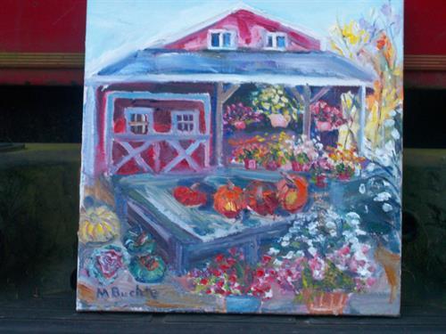 "12 x 12,  ""Fall Finale"", Freund's Farm Market, Canaan, CT  -  OIL"