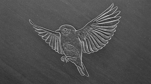 Bluebird, hand carved slate memorial detail (shown kindness of the Ash Family)