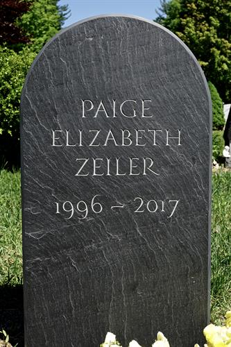 Hand carved slate memorial for Paige Zieler