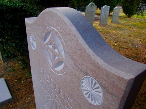 Hand carved marble memorial, detail (shown kindness of the White family)