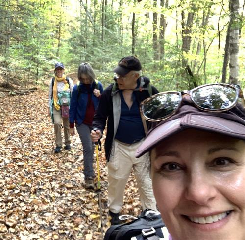 Mindy leading guests on the Housie Rail Trail, Housatonic