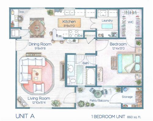 1 bd floor plan
