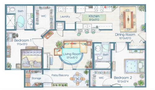 2 bd floor plan