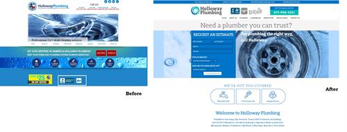 New Website Before/After - Holloway Plumbing - Kerrville, TX #LogoDesign #Layout #Branding #Copywriting