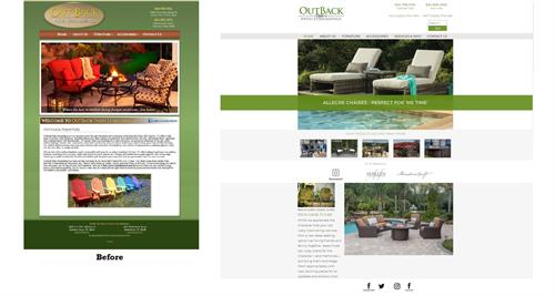 New Website Before/After - OutBack Patio Furnishings - Kerrville & Marble Falls, TX #Website #Design #Layout #Copywriting