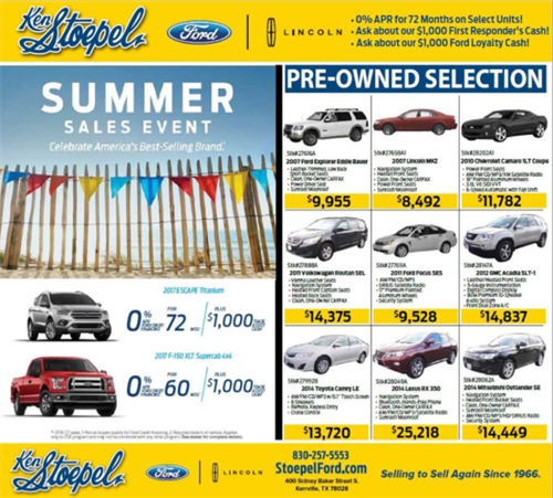 Ken Stoepel Ford-Lincoln Print Ad - Kerrville, TX #Print #KerrvilleDailyTimes #CommunityJournal