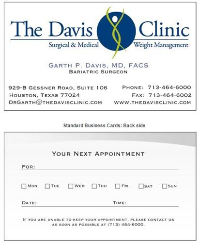 Business Card Design - The Davis Clinic - Houston, TX #Design #Layout #Branding