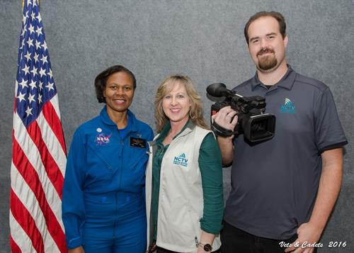 Pam Haessly and Shannon Foley meet Dr. Yvonne Cagle (former astronaut) at JROTC.