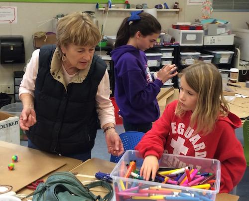 Grandma helps grand daughter build Saturday MAKER project
