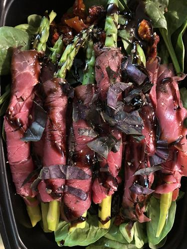 Prime Rib Wrapped Asparagus Salad with Balsamic Glaze