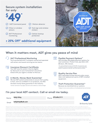 An ADT smart security system can help you feel safer and give you control of your home from virtually anywhere via the ADT Control App. Call me at (270) 696-3111