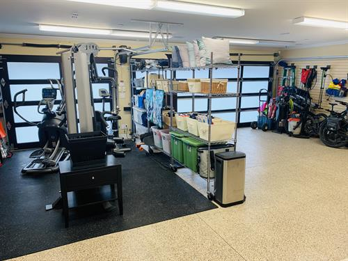 After photo of garage and gym organizing session