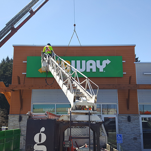 Installation, channel letters, signage, Grant Signs