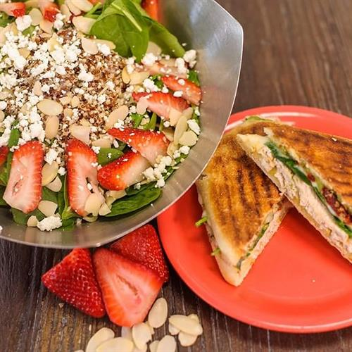Strawberry Spinach Salad & Roasted Turkey Panini