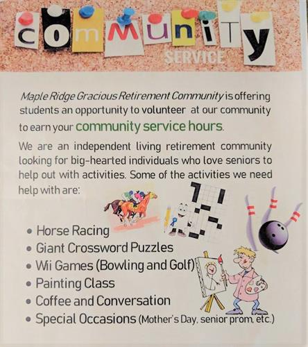 Earn Community Service Hours