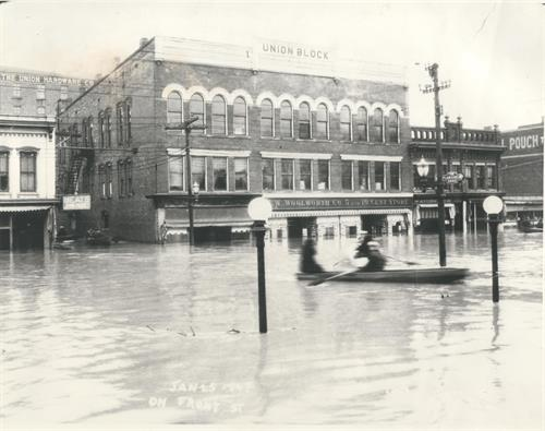 This photo is of our location during a flood in 1906, and shows some of the intriguing history of Marietta.