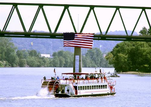 An American flag provided by American Flags and Poles flown from the Williamstown Bridge over the Ohio River.