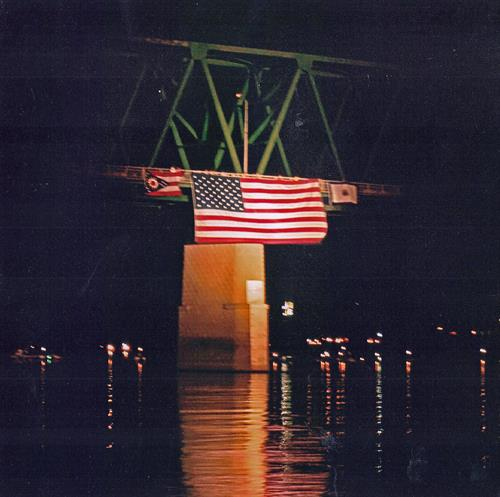 The flag on the Williamstown Bridge at night