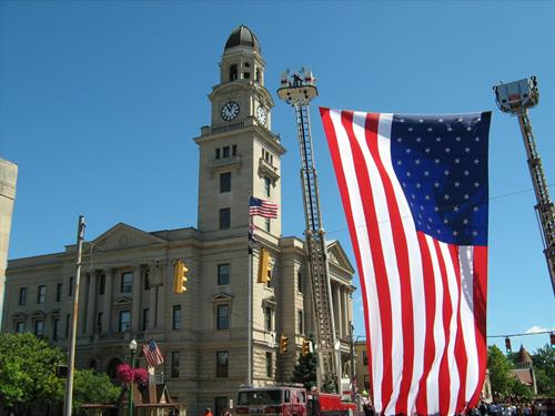 This flag was provided for a parade honoring local hero, Kyle Hockenberry, who was wounded in action overseas.