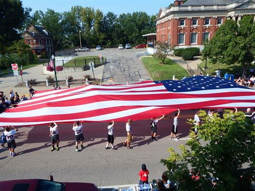 This is one our flags carried by the Marietta High School and Middle School football teams at the 2014 Washington County Fair parade.