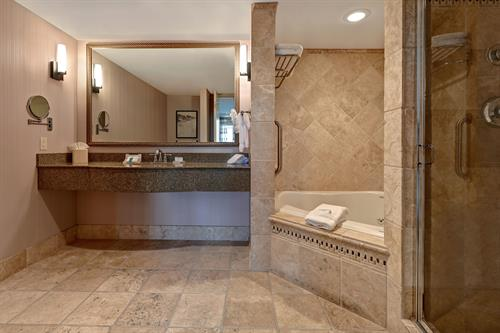 Grand Suite Bathroom with Jetted Tub and Rain Shower