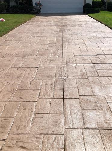 After Picture of Faded stamped concrete