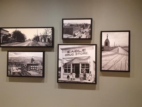 Framed historical printed canvases of Boise & Eagle, Idaho.