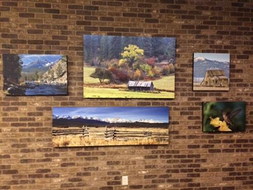 Office entry area showcasing Idaho landscapes.