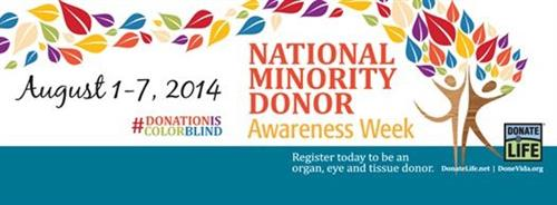 August NATIONAL MINORITY DONOR AWARENESS WEEK
