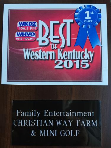 Voted best of Family Entertainment in Western KY!