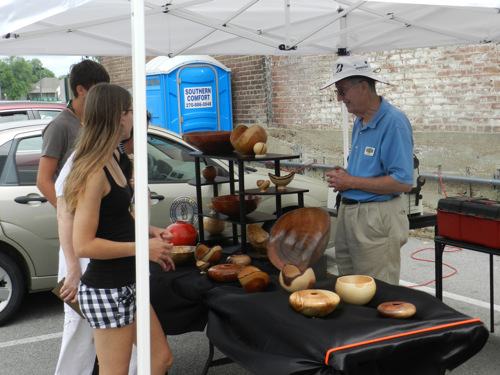 Jim Mason woodturning demo at Downtown Farmers Market in 2015