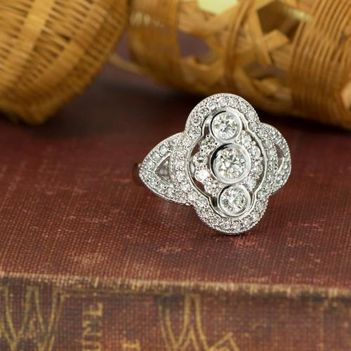 Lady's Diamond Fashion Ring in White Gold